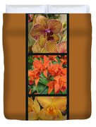 Orchids Vertical Triptych Duvet Cover