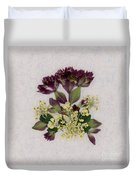 Oregano Florets And Leaves Pressed Flower Design Duvet Cover