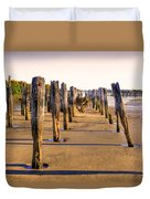 Oregon Coast Pilings Duvet Cover