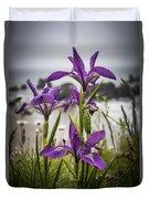 Oregon Iris At The Beach Duvet Cover