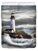 Oregon Lighthouse Beam Of Hope Duvet Cover