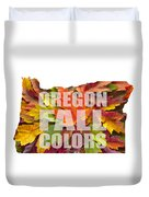 Oregon Maple Leaves Mixed Fall Colors Text Duvet Cover