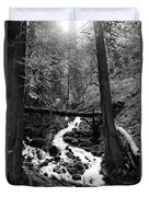 Oregon River Black And White Duvet Cover