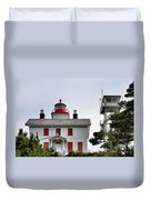 Oregon's Seacoast Lighthouses - Yaquina Bay Lighthouse - Old And New Duvet Cover by Christine Till