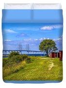 Oresund Bridge With Cabanas Duvet Cover