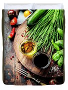 Organic Vegetables And Spices Duvet Cover