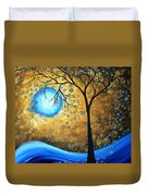 Orginal Abstract Landscape Painting Blue Fire By Madart Duvet Cover