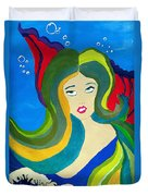 Japanese Mermaid Bubbles  Duvet Cover
