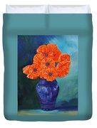 Oriental Poppies In Blue Duvet Cover
