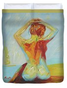 Original Abstract Oil Painting Female Nude Girl On Canvas#16-2-5-06 Duvet Cover