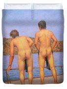Original Oil Painting Art Male Nude Gay Interest Boy Man On Linen#16-2-5-12 Duvet Cover