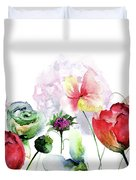 Original Floral Background With Flowers Duvet Cover