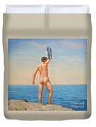 Original  Oil Painting Gay Art Male Nude By Body On Canvas#16-2-5-011 Duvet Cover