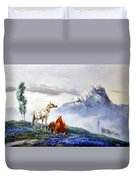 Original Oil Painting On Canvas Two Horses Duvet Cover