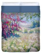Original Oil Painting - Spring Meadow In Sussex Duvet Cover