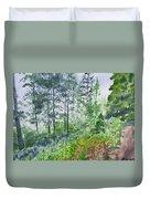 Original Watercolor - Summer Pine Forest Duvet Cover