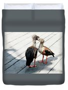 Orinoco Geese Touching Heads On A Boardwalk Duvet Cover