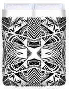 Ornamental Intersection - Abstract Black And White Graphic Drawing Duvet Cover