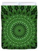 Ornamented Mandala In Green Tones Duvet Cover
