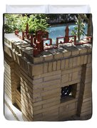 Ornate Red Iron Fence Duvet Cover