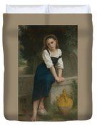 Orphan At The Fountain Duvet Cover