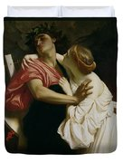 Orpheus And Euridyce Duvet Cover by Frederic Leighton