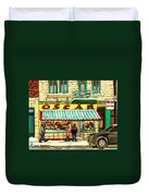 Oscar 's Candy Store Montreal Duvet Cover