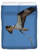 Osprey In Flight With Stick For Nest 031620160906 Duvet Cover