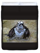 Osprey Splashing In Water Duvet Cover