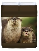 Otter And Cub Duvet Cover