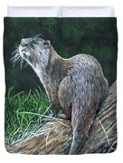 Otter On Branch Duvet Cover