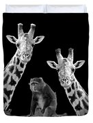 Our Wise Little Friend - Monkey And Giraffes In Black And White Duvet Cover