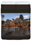 Ouranosaurus Drink At A Watering Hole Duvet Cover