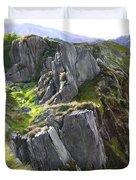 Outcrop In Snowdonia Duvet Cover