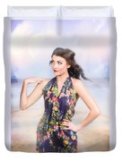 Outdoor Fashion Portrait. Spring Twilight Beauty Duvet Cover