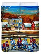 Outdoor Hockey Rink Duvet Cover