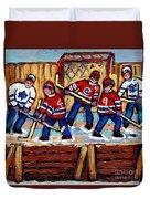 Pointe St Charles Hockey Rink Painting Leafs Vs Habs Quebec Winter Scene Hockey Art Carole Spandau Duvet Cover