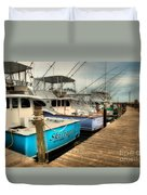 Outer Banks Fishing Boats Waiting Duvet Cover