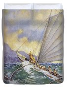 Outrigger At Sea Duvet Cover