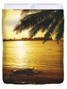 Outrigger At Sunset Duvet Cover