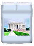 Outside The Lincoln Memorial Duvet Cover