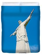 Outstretched Arms Of Christ The Redeemer Icon On Corcovado Mountain In Rio De Janeiro-brazil  Duvet Cover