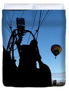 Over Auburn And Lewiston Hot Air Balloons Duvet Cover
