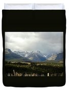 Over The Fence To Dusted Mountains Duvet Cover
