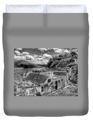 Over The Rooftops At Portree In Greyscale 2 Duvet Cover