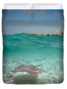Over-under Water Of A Stingray At Bora Bora Duvet Cover