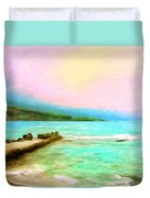 Overcast Sunset At Napoopoo Beach Park Duvet Cover