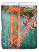 Overhead Aerial Of Golden Gate Bridge, San Francisco, Usa Duvet Cover