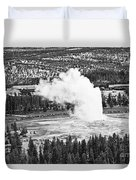 Overhead View Of Old Faithful Erupting. Duvet Cover