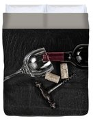 Overhead View Of Vintage Corkscrew With Red Wine Bottle And Glas Duvet Cover